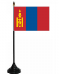 Mongolia Desk / Table Flag with plastic stand and base.